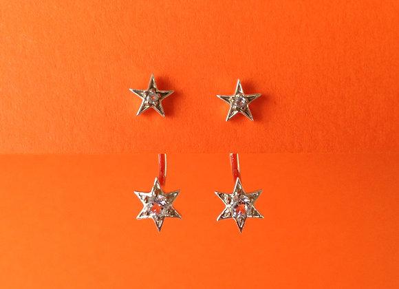 brinco prata  estrelas