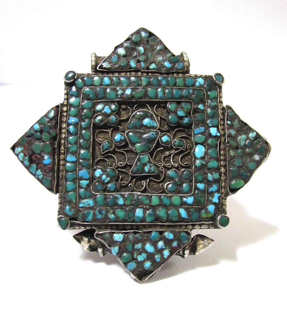 amuleto , turquesa, joia em prata ,prata ,tibet
