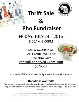 Join us for our Thrift Sale and Pho Fundraiser!