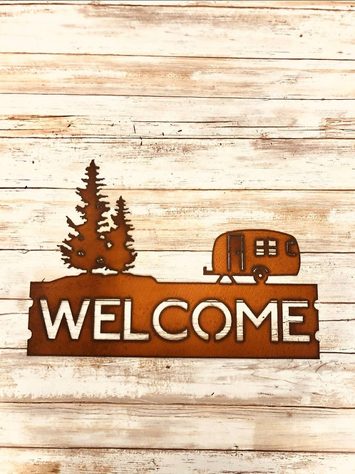 Iron camper trailer welcome