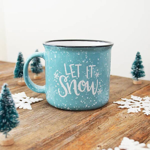 Let it Snow blue Christmas Holiday Mug Merry