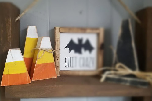 Rustic wooden candy corn