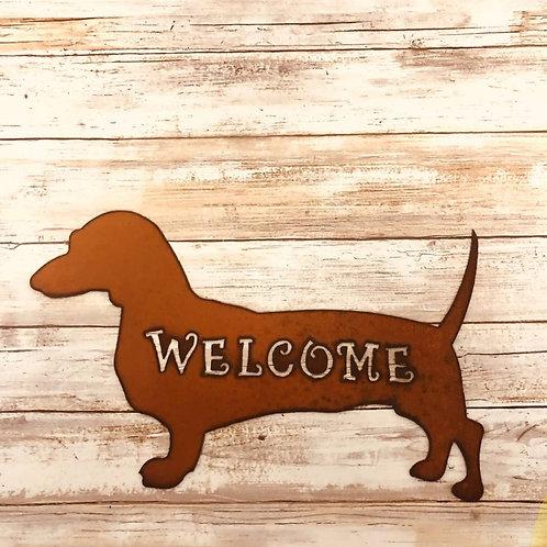 Iron Wiener dog sign