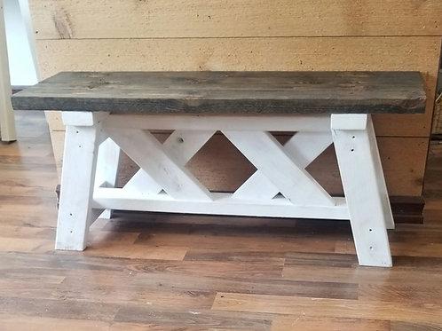 Double X farmhouse bench