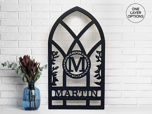 Arch Style Window Monogram Custom Home Decor