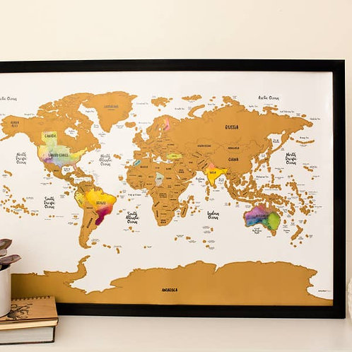 Scratch Your Travels Watercolor World Map w/ US States