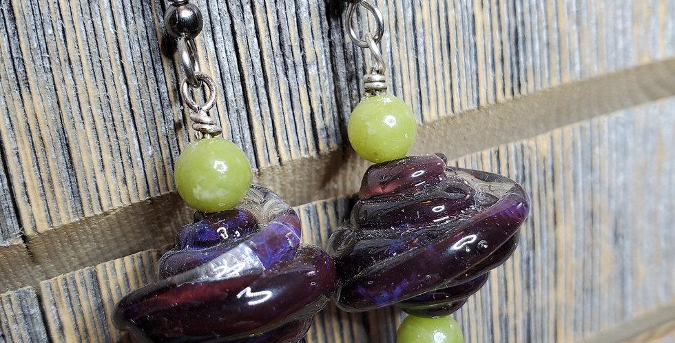 Aubergine Lime Earrings