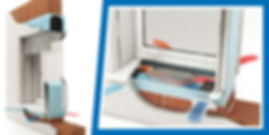 Dettaglio del sistema di VMC con integrato il recuperatore di calore entalpico
