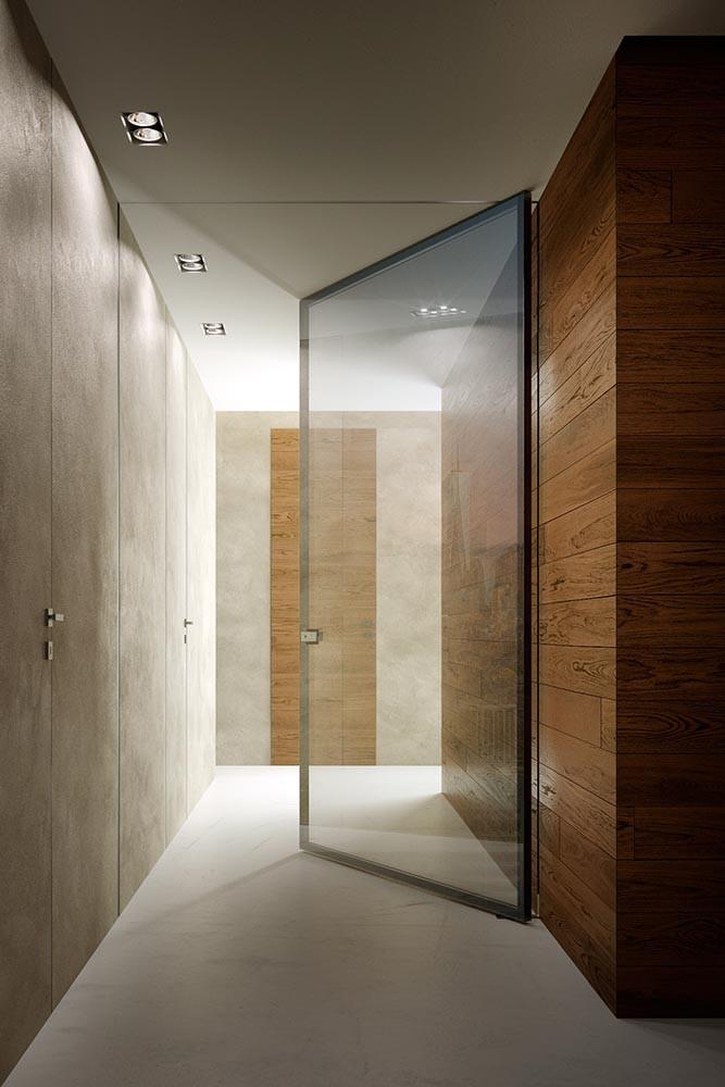 Porta interna Garofoli Total Biglass | rovere terra e vetro