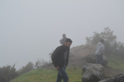 Friars in the midst of mist