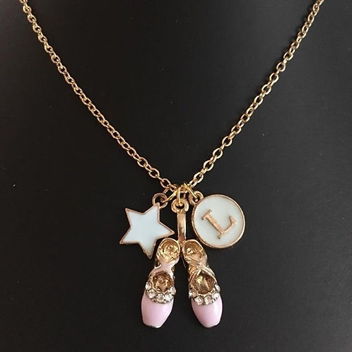 Ballet Shoes Necklace (optional initial)