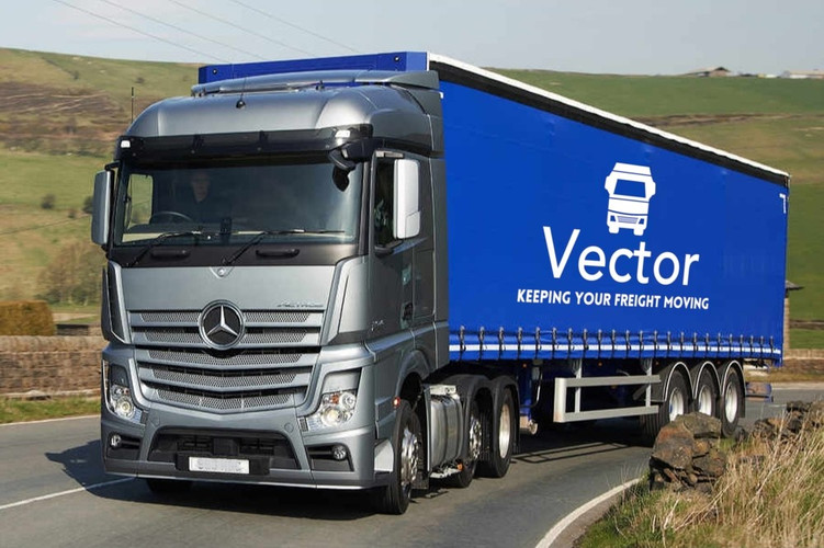 Curtain sider with truck and white logo
