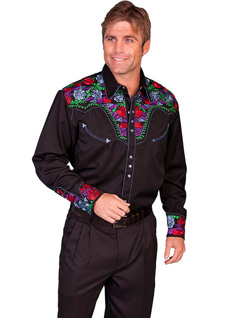 Scully Snap Front Shirt with Multi-Colored Floral Embroidery