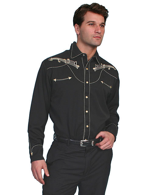 Scully Snap Front Shirt with Musical Embroidery