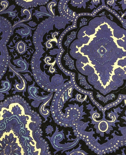 Purple and Black Paisley Jacquard 100% Silk Scarf with hand rolled edges