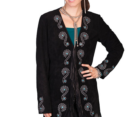 Scully Fringe Embroidered Suede Coat