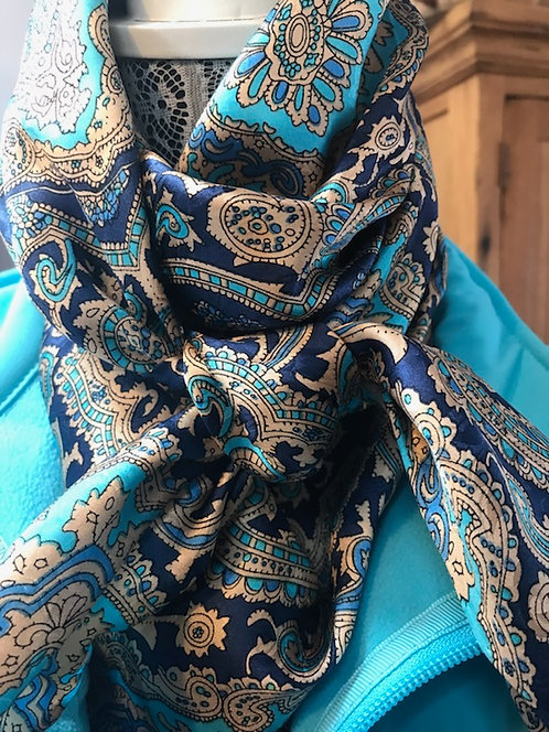 Blue and Gold Paisley Jacquard Silk Scarf