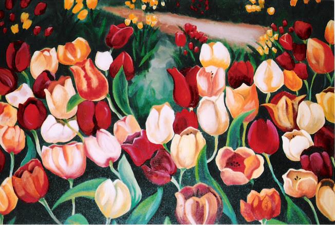 tulips oil on canvas
