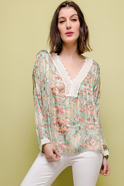 Python Print Blouse with Lace Detail | Multicolour