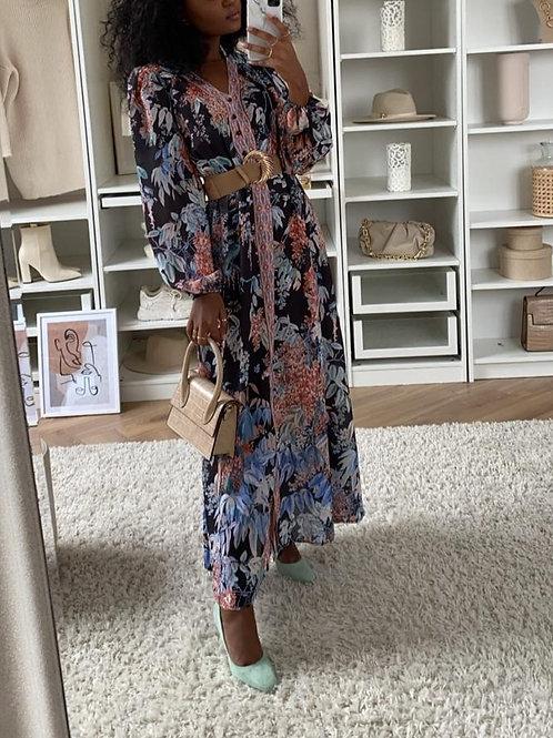 Floral & Black Belted Maxi Dress