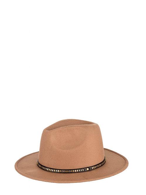 Stud Embellished Camel Hat