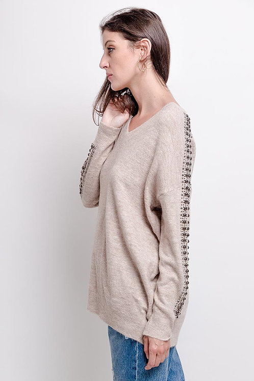 Jumper with V-Neck and Stud & Crystal Detail | One Size