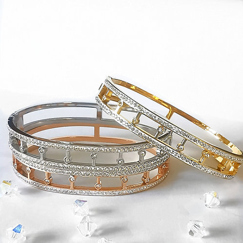 Crystal Stainless Steel Bangle   Rose Gold, Gold or Silver