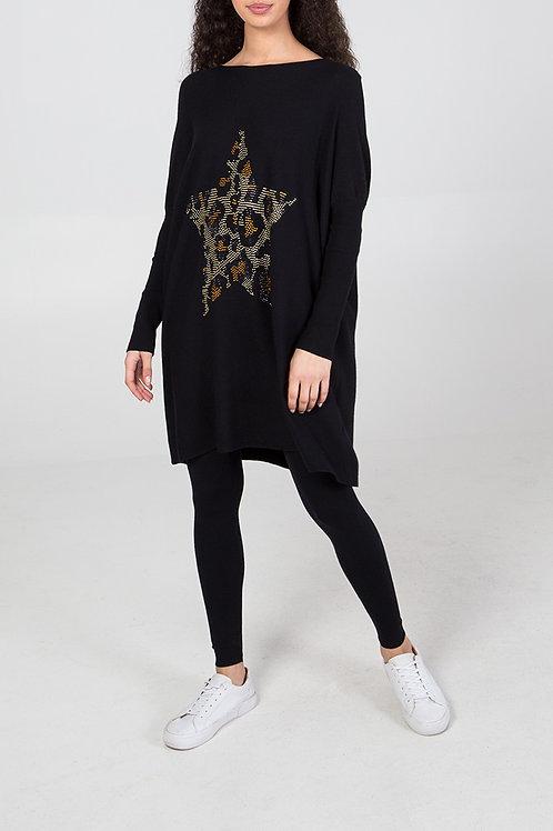 Black Leopard Print Star Crystal Oversized Top & Leggings Loungewear Set