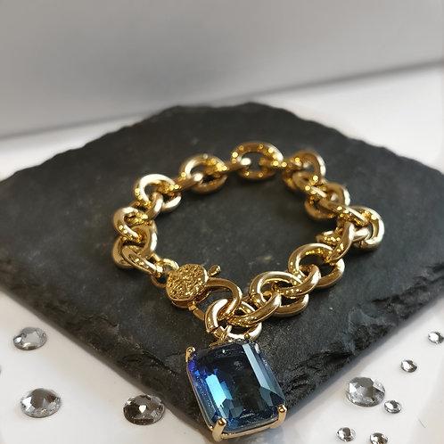 Chain Blue Crystal Drop Bracelet   Gold