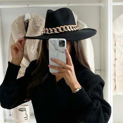 Chain Embellished Fedora Hat