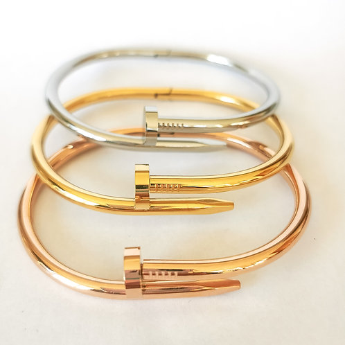 Screw Stainless Steel Bangle | Rose Gold, Gold or Silver