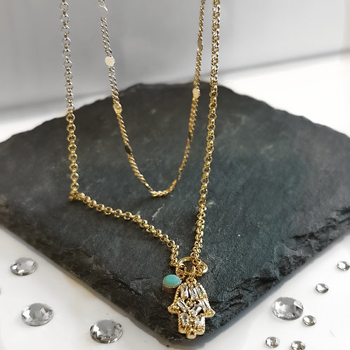 Double Layer Crystal Hamsa Necklace with Turquoise Drop | Gold