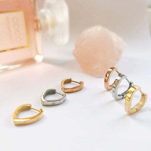 Stainless Steel Screw Effect Hoop Earrings | Gold, Silver or Rose Gold