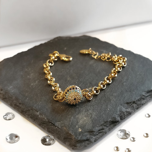 Evil Eye Chain Crystal Embellished Bracelet | Gold
