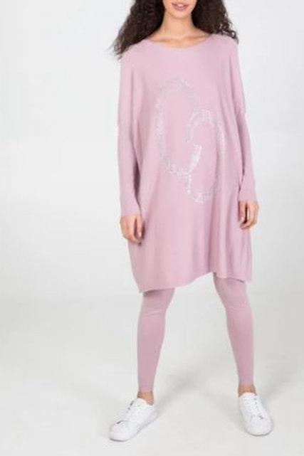 Pink Crystal Oversized Top & Leggings Loungewear Set
