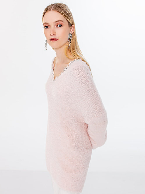 FLUFFY PINK V-NECK KNITTED KNITWEAR