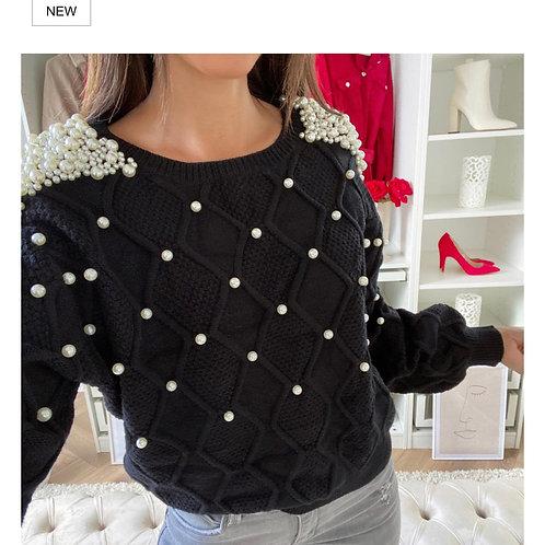 Round Neck Short Pearl Embellished Jumper Dress | One Size
