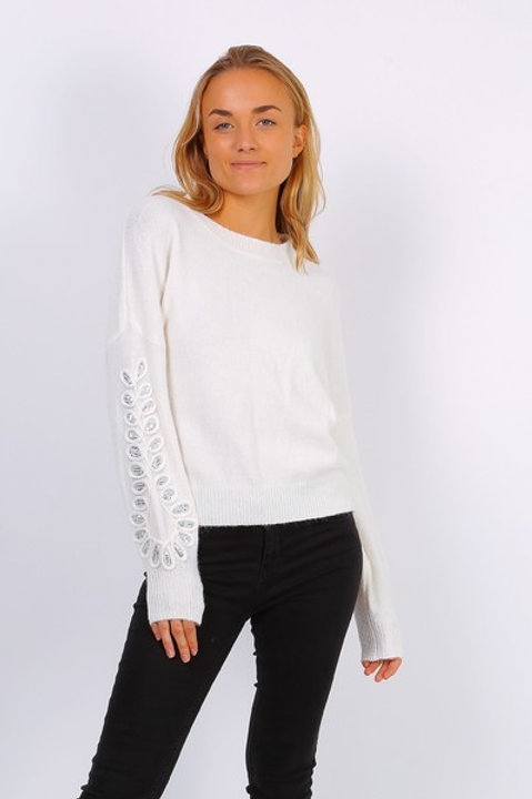 Knitted Jumper with Puff Sleeve and Sequin Detail | One Size