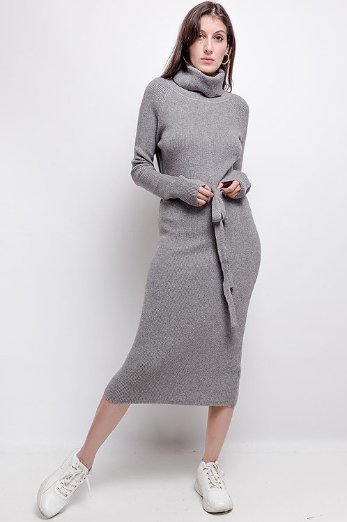 Knitted Roll Neck Midi Dress with Matching Belt | One Size