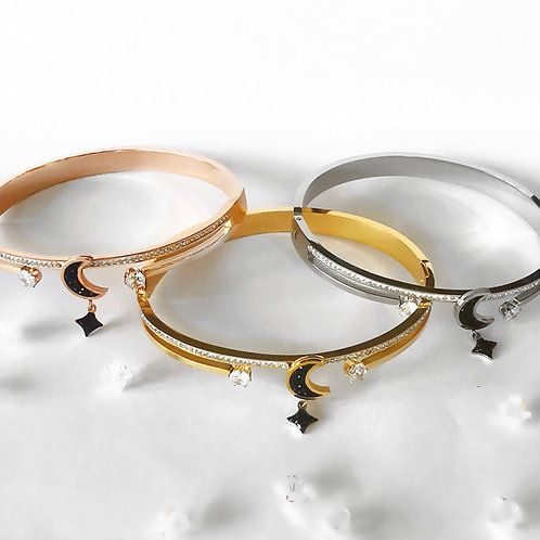 Moon and Star & Crystal Stainless Steel Bangle | Rose Gold, Gold or Silver