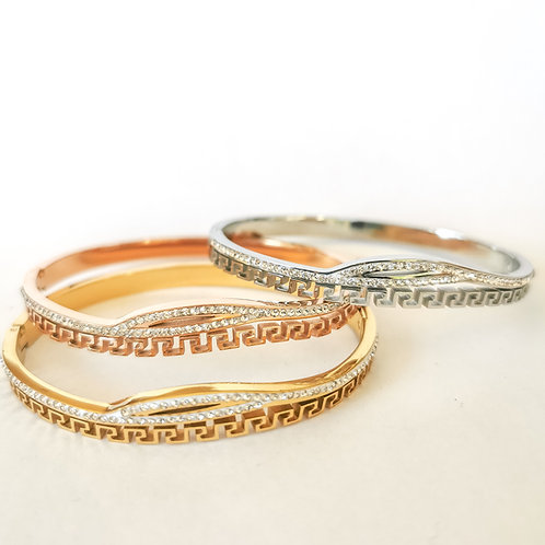 Greek Key & Crystal Stainless Steel Bangle | Rose Gold, Gold or Silv