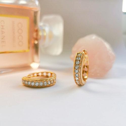 Crystal & Gold Hoop Earrings