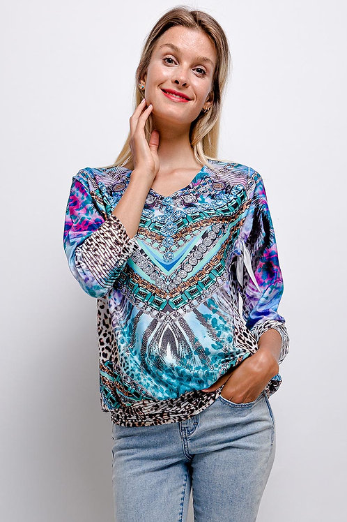 LIMITED EDITION V-Neck 3/4 Sleeve Top With Crystal Detail