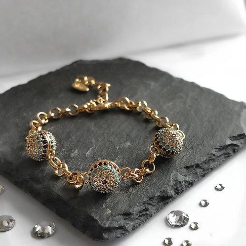 Evil Eye Chain Crystal Embellished Bracelet   Gold