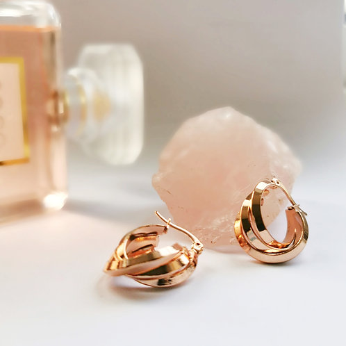 Rose Gold Plated Stainless Steel Triple Effect Hoop Earrings