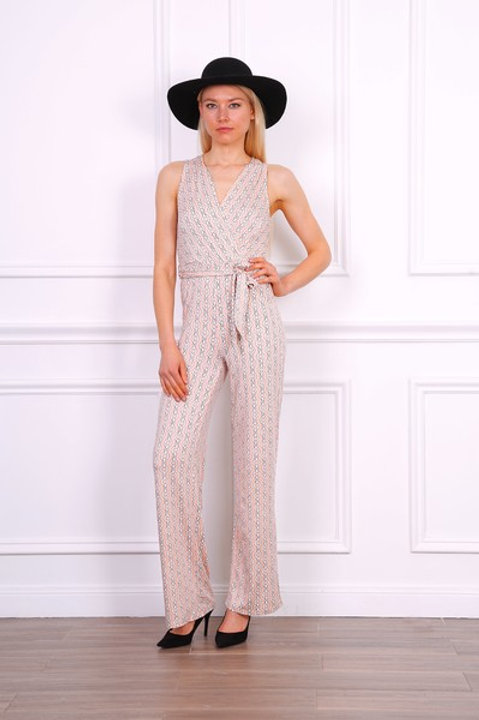 Chain Print Stretch Jumpsuit in Pink & White| S, M or L