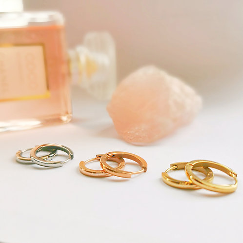 Stainless Steel Hoop Earrings (Thin) | Gold, Silver or Rose Gold