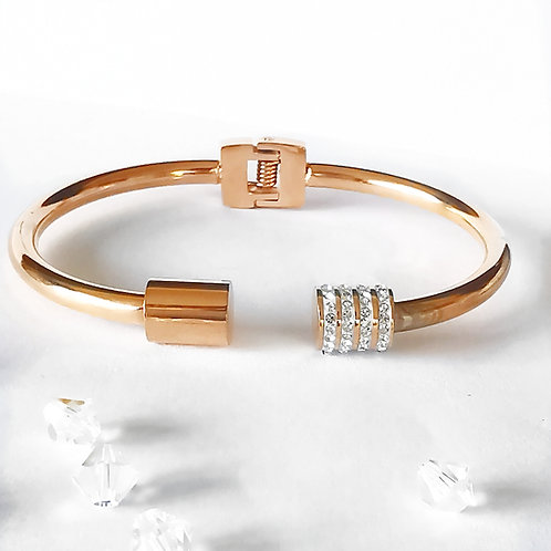 Crystal Stainless Steel Bangle | Rose Gold