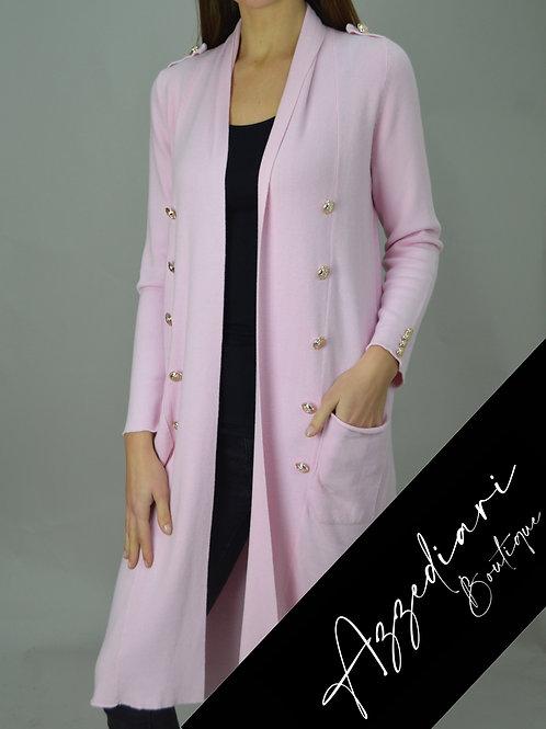pink maxi cardigan