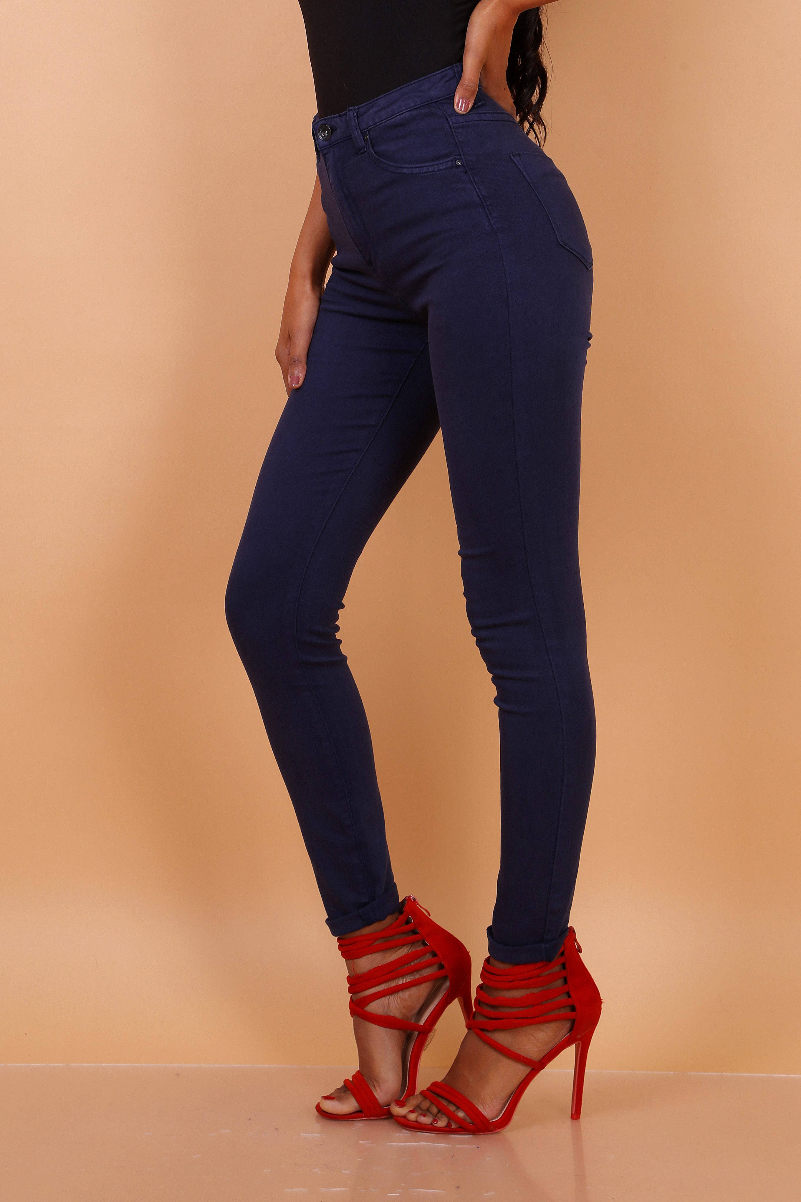 Toxik 3 Jeans | L185-25 Faded Navy Blue High Waisted Super Stretch Jeans